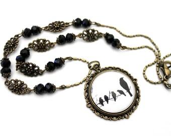 "Necklace Bohemian glass vintage ""little black birds"" - necklace retro brass"