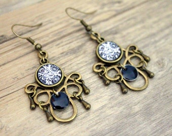 Earrings Bohemians arabesques with Midnight Blue sequin-cabochon