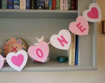 Personalised Birthday Bunting Banner Pink, White, Kraft Card Heart Shaped