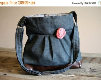 CHRISTMAS SALE Concealed Carry Purse, Medium Messenger Bag, Charcoal, Dark Grey, Conceal Carry Handbag, Concealed Carry Purse, Conceal and C