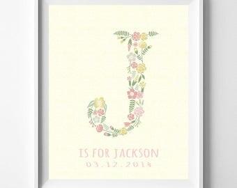 Personalized Art, Personalize Monogram, Floral Monogram, Jessica, Jennifer, Jordan, Jasmine, Julia, Floral Name Initial, Valentines Day Gift