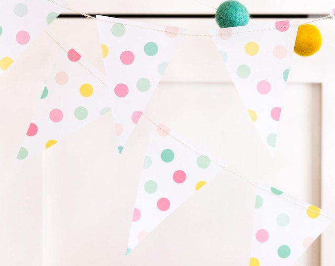 Polka-Dot Mint Pink and Yellow Banner Garland, Polka Dot Banner, HRP204 Holiday Pennant, Birthday Party Banner, Mint Pink and Yellow Bunting