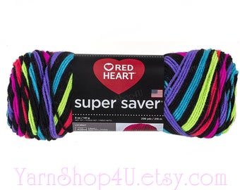 NEON STRIPES Red Heart Super Saver Stripes is A Self Striping yarn. Easy care Acrylic yarn. 5 ounce / 236 yards. Very bright colors!