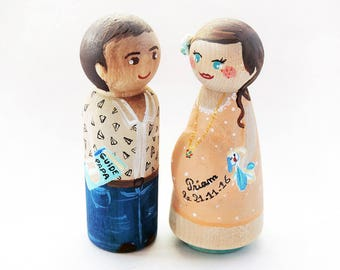 Couple figurine birth / Personalized figurines pregnant / Gift birth / gift baby shower / Gift - To customize