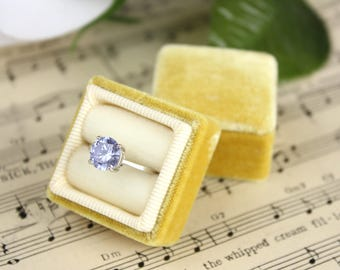 Velvet Ring Box in Buttercup Color, Perfect For Weddings