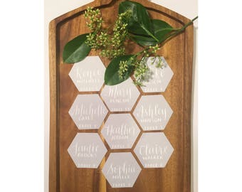Hexagon place cards with custom calligraphy