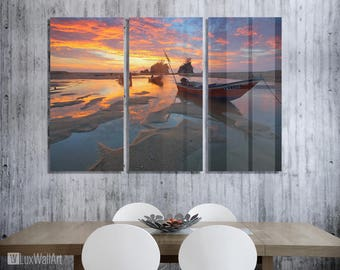 Orange Sundown Wall Art Metal Print Decor Ready to Hang