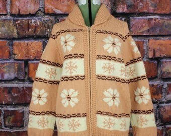 Snowflakes and Pointsettias Vintage Curling Sweater