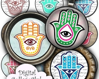 80 % off Summer Sale Hamsa Morrocan Lucky Amulet 1 inch Digital Collage Sheet Bottlecap Images for Jewelry, Bottle Caps, Round Pendant Circl