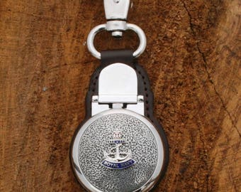 Royal Navy Crown and Anchor Pocket Fob Watch Clip On With Leather Back Military Gift ME01