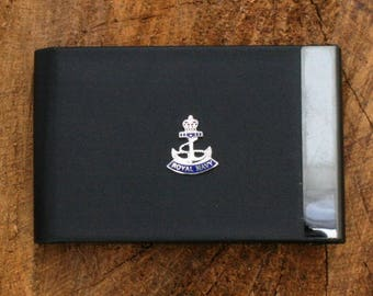 Royal Navy Crown and Anchor Design Black PU and Metal Credit/Business Card Holder Military Gift ME01