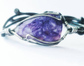 Russian Charoite bracelet wire wrapped in sterling silver