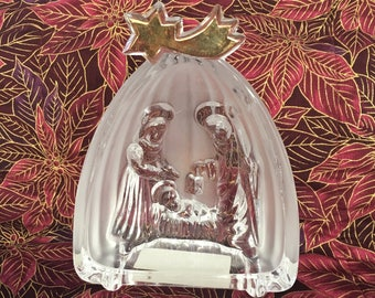 Mikasa Crystal Nativity Scene, Golden Stars Nativity, Glass Nativity w Gold Stars, Nativity, Crystal Creche