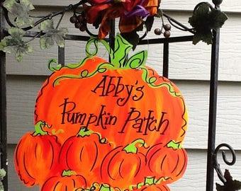 Pumpkin door sign, pumpkin sign, pumpkin patch sign, happy fall y'all sign, fall door sign, fall door hanger, halloween door sign, halloween