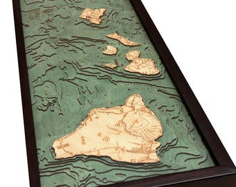 Hawaii Islands Wood Carved Topographic Depth Map