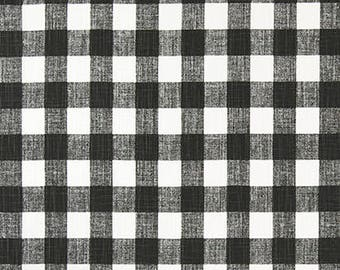 "Premier Prints Fabric-BUFFALO PLAID-Ink (Black)-Slub Canvas Fabric-Remnant-End of Bolt-Fabric-By The Yard-54"" wide-Decorator fabric"