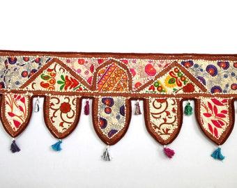 Handmade Window Door Valance Home Decor Decorative Embroidered Patchwork Toran Pelmet Topper Drapery Top Hanging Tent Decoration Art J995