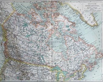 British North America map. Canada. Old book plate, 1904. Antique  illustration. 113 years lithograph. 9'6 x  11'9 inches.