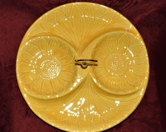 1960 Large 13 inch Divided Serving Dish California Pottery in Delightful Sun Flower Yellow