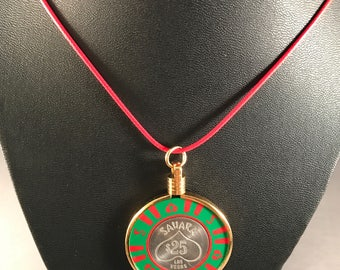 Up-cycled Casino poker chip necklace - Sahara Casino chip
