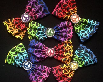 """6"""" Rainbow Peace Sign Fabric Hair Bow Clip"""