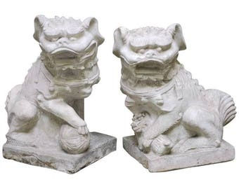 Pair of Molded Stone Chinese Foo Dog Statues