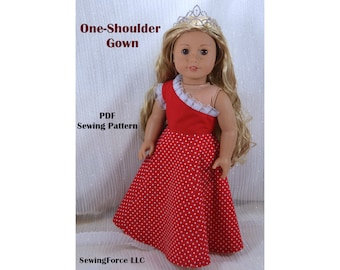 18 inch doll clothes Pattern dress American girl doll clothes pattern dress - One shoulder Gown - PDF sewing pattern