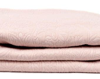 "THROW bed 240 x 260 fabric damask ""ROSE"""