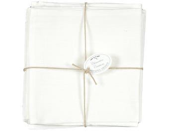 Set of 6 napkins in linen white 40x40cm