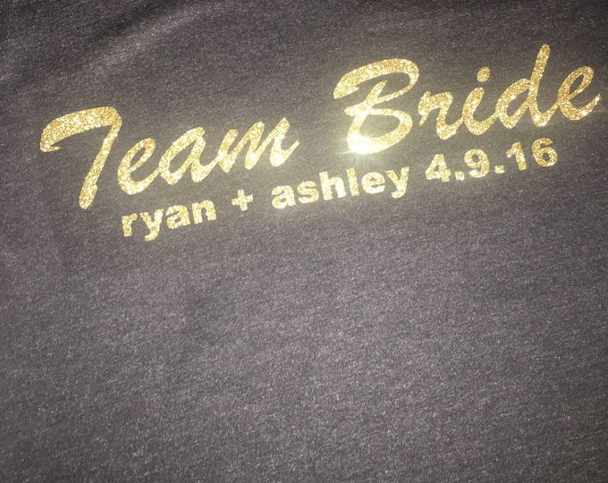 Team Bride Personalized Shirt - Bridesmaid, Maid Of Honor, Matron of honor- Customized with date and bride and groom names - Bridesmaid tank