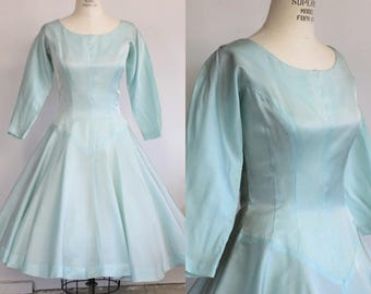 Vintage 1950s Satin Party Dress / Fit And Flare Ice Blue Dress / Holiday Dress / Full Circle Skirt / New Look Dress
