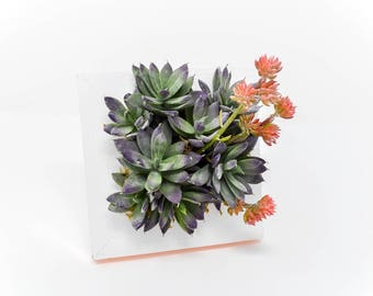Small Artificial Succulent Garden with Copper Accents