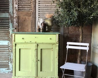 NOW SOLD - Rustic vintage Belgian cabinet / cupboard with great original paint