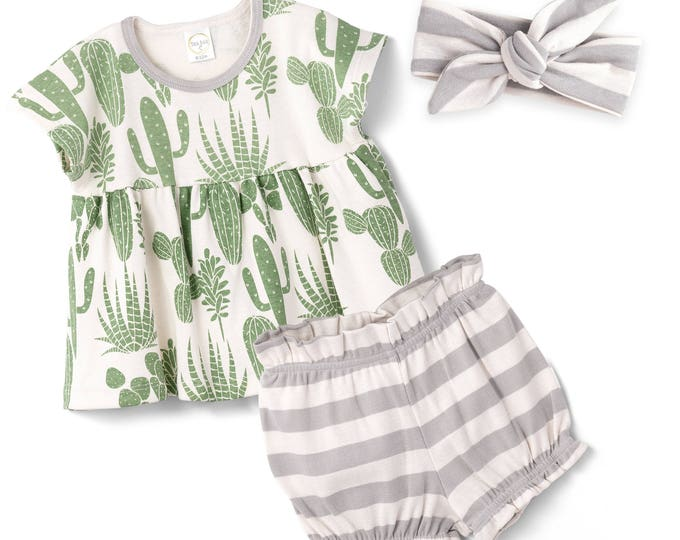 Baby Girl Bloomer Outfit, Baby Girl Cactus Bloomers Outfit, Newborn Girl Green Cactus Baby Bloomers, Baby Girl Cactus Outfit Tesa Babe