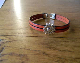 Flower orange clasp leather cord bracelet