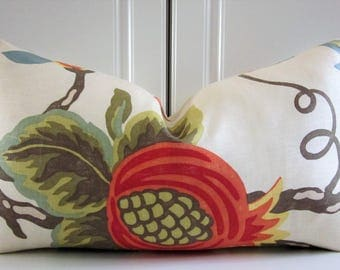 Lee Jofa Decorative Pillow Covers-Mondavi in Pumpkin-Linen-Pomegranate-13x23 Lumbar