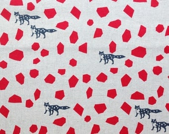 Foxes in Red - Echino by Kokka Cotton Canvas Fabric Fat Quarter