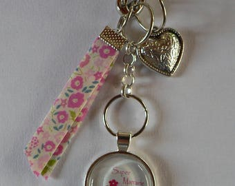 Great godmother gift godmother pink Liberty glass bag charm.