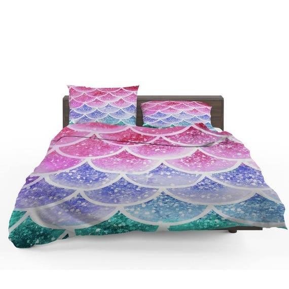 pastell nebel meerjungfrau skalen tr ster oder bettbezug set. Black Bedroom Furniture Sets. Home Design Ideas
