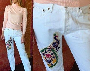 Levis Jeans Levis 501 Jeans 80s Levis Patched Jeans 80s White Levis 501 Patched Jeans