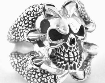 Summer CLEARANCE Sterling Silver 925 Biker Skull Ring Claws Made in USA