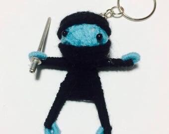 Ninja Voodoo String Doll Cartoon Keychain Key Ring Keyfob Ornament Thai Handmade