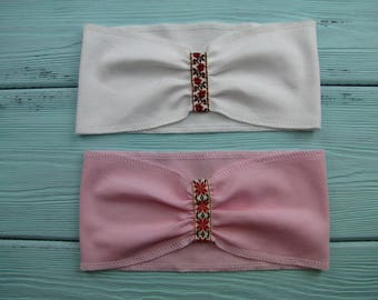 Ready to ship. Set of 2 baby headbands. Baby shower gift. Newborn headbands.