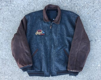 Touched by an Angel Film Crew Jacket - XXL - Movies and Television - Hollywood California - Authentic Film Crew Jacket - Wool Body - Leather