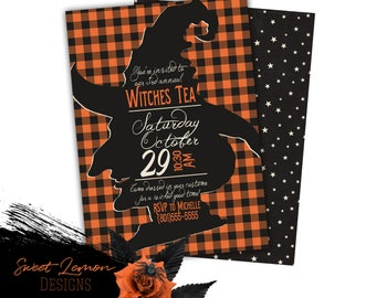 Halloween Party Invitation Witches Tea Costume Girls