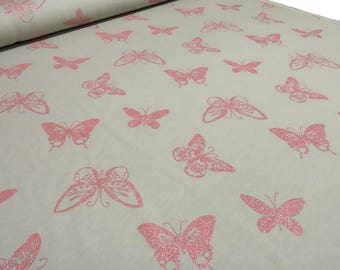 French Terry Sweatshirt/fabric butterflies glitter Butterfly grey pink