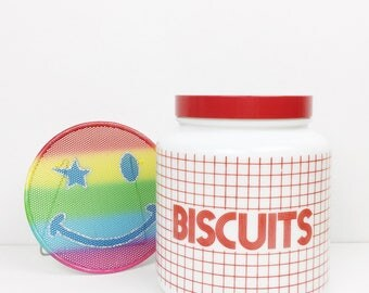 Vintage biscuit jar by CLP, like Pyrex, large white and red grid biscuit container, 1970s biscuit jar, cookie jar, biscuit barrel