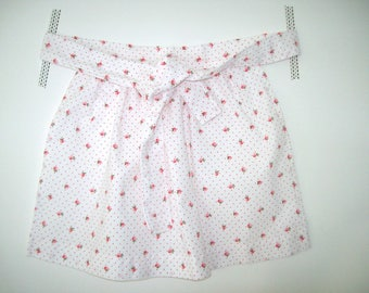 Little girl - white polka dot red and pink apples apron