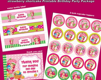 INSTANT DL- Strawberry Shortcake - Birthday Party Package - Printable set (NON Personalized)