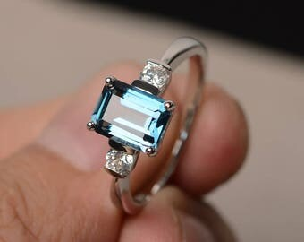 London Blue Topaz Ring Engagement Ring Emerald Cut Blue Gemstone November Birthstone Ring Sterling Silver Ring